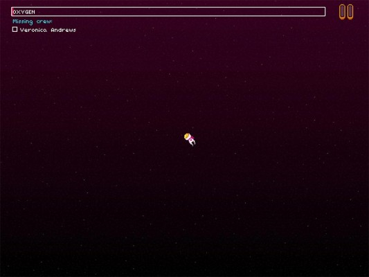 Screenshot of the captain alone in space